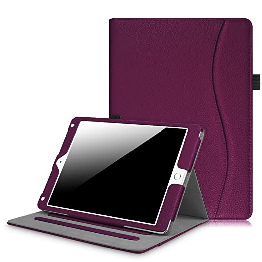 Fintie iPad 9.7 Inch 2017 / iPad Air 2 / iPad Air Case - [Corner Protection] Multi-Angle Viewing Folio Stand Cover w/ Pocket, Auto Wake / Sleep for Apple iPad 2017 Model, iPad Air 1 2, Purple