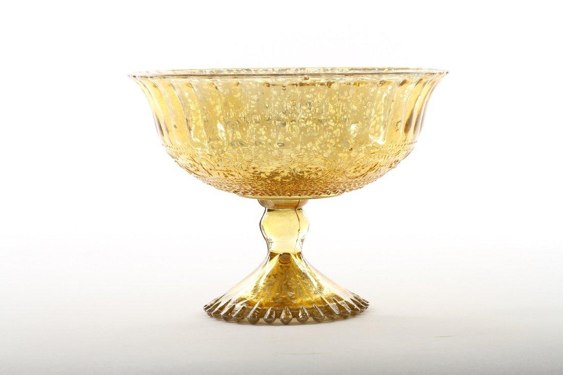 Koyal Wholesale 5-Inch Antique Gold Glass Compote Bowl Pedestal Flower Bowl Centerpiece by Koyal Wholesale