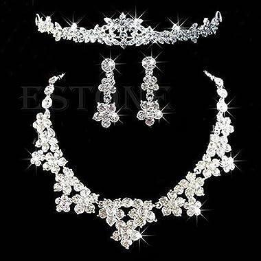 Lamdoo Elegant Rhinestone Jewelry Set Necklace Earrings Tiara Crown Prom Wedding Bridal