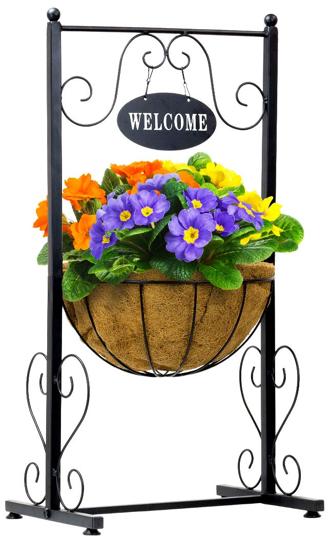 Sorbus Welcome Planter Basket Stand with Coco Liner, Stylish Flower, Plant, and Outdoor Décor for Home, Garden, Patio, Deck, Black Metal by Sorbus