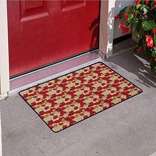 (Vintage Welcome Door mat Romantic Red Rose Blooms with Sketches Classical Valentines Day Inspired Door mat is odorless and Durable W19.7 x L31.5 Inch Red Khaki Sand Brown)