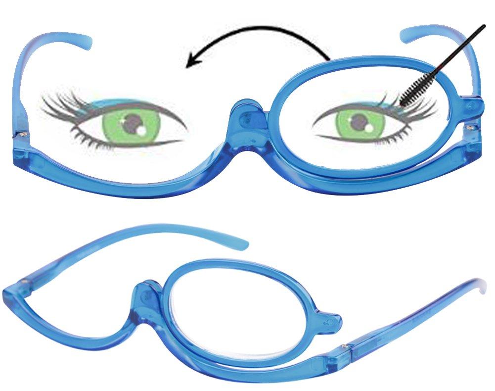 SOOLALA 2 Pack Womens Magnifying Eye Make Up Spectacles Flip Down Lens Folding Cosmetic Reading Glasses, 2Blue, 3.0