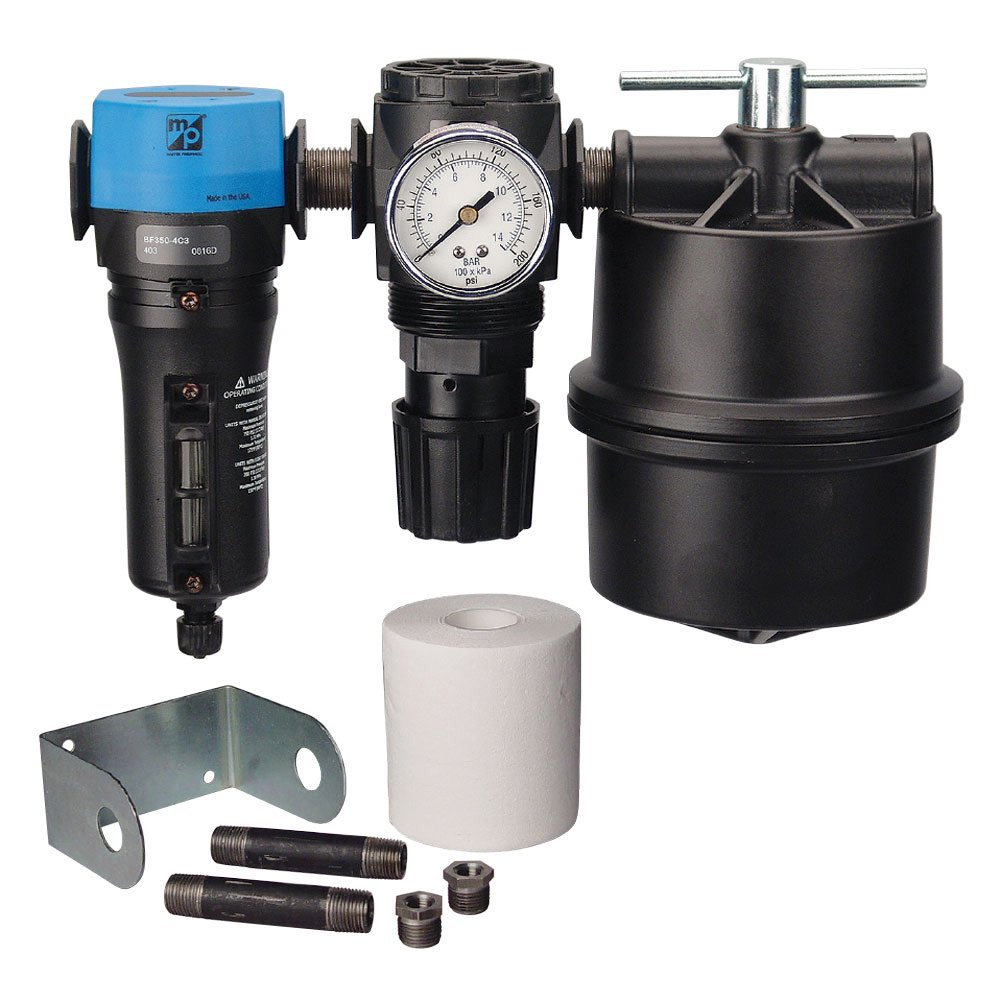 TP Tools 1/2'' Two-Stage Filter Regulator System - Master Pneumatic Water Separator BFD380-4C3 and Air Regulator R350-4H Bundled with Coalescing Filter & Accessories, Made in USA, 7 Items by TP Tools