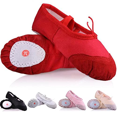 d6052373ec33 DADAWEN Girl's Ballet Slippers Classic Split-Sole Canvas Dance Gymnastics  Yoga Shoes Flats Red US