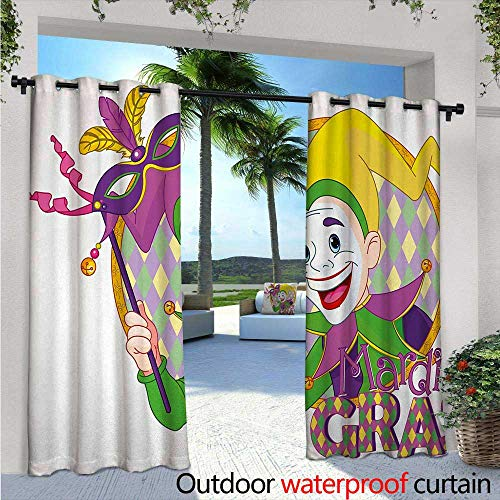 Mardi Gras Outdoor Privacy Curtain for Pergola Cartoon Design of Mardi Gras Jester Smiling and Holding a Mask Harlequin Figure Thermal Insulated Water Repellent Drape for Balcony W120