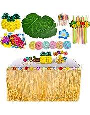YQing 117 Piezas Hawaiano Luau Falda de mesa Set de decoración, Decoración de fiesta tropical de 9.6FT con hojas de palma Flores hawaianas decoraciones de mesa de fiesta Tiki de verano
