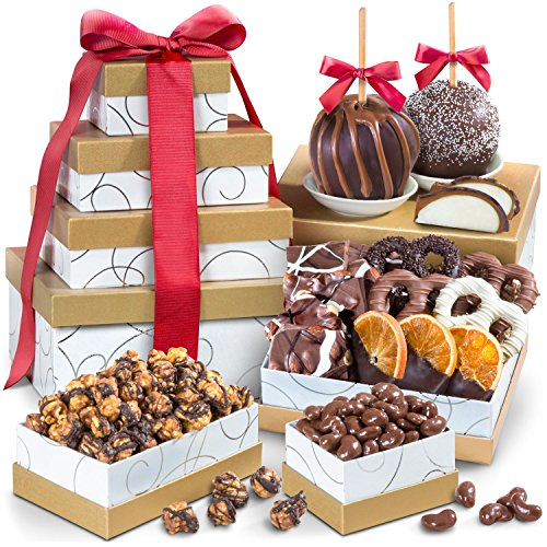 Golden State Fruit  Chocolate Perfection Signature Gift Tower Chocolate Covered Gourmet Apple