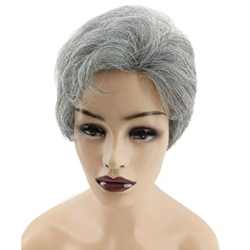 Amazon.com   Short Wigs for Women with Bangs Very Natural Side Part Hair Wigs  Cheap Heat Resistant Straight Hair Wigs Look Real for Women (silver mix)    ... d8d6d99ff