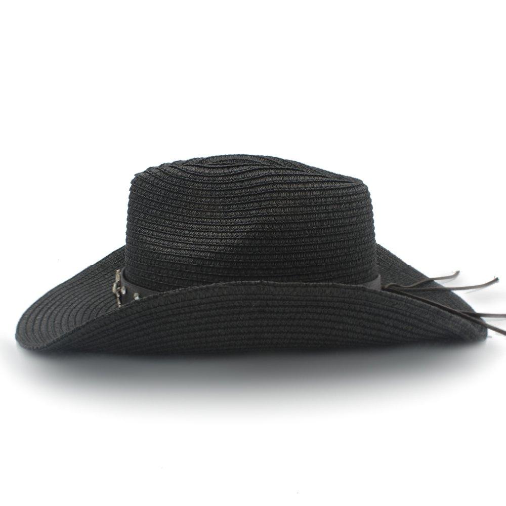 Women Men Straw Sombrero Caps Fashion Belt Gentleman Ruiyue Western Cowboy Hat