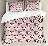 Panda Duvet Cover Set King Size by Lunarable, Big Bear Cats in Love Southern China Fauna Portraits with Little Hearts, Decorative 3 Piece Bedding Set with 2 Pillow Shams, Pale Pink Black White