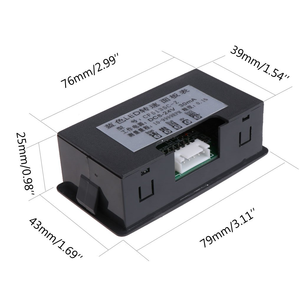 Rot N/äherungsschalter Sensor NPN 12V 9999RPM Exing Auto Drehzahlmesser,4 Digitaler LED-Drehzahlmesser Drehzahlmesser