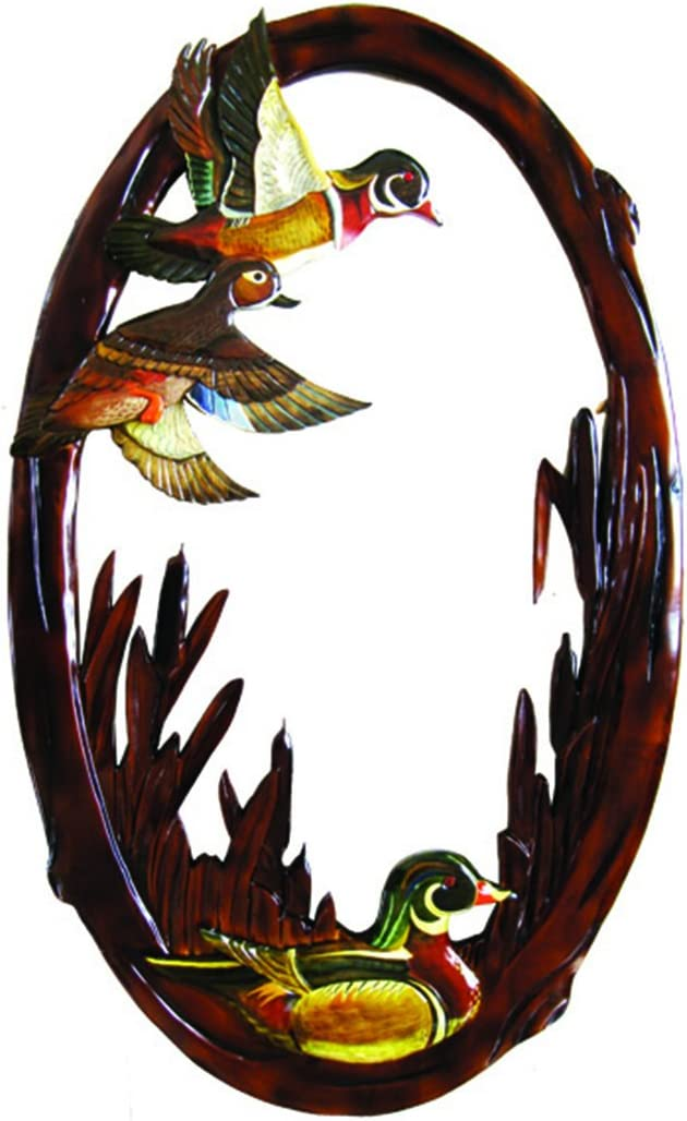 Zeckos Flying Duck Hand Crafted Intarsia Wood Art Wall Mirror 26 X 41 X 2 Inches