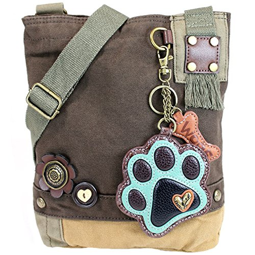 Brown Chala Teal Dark Handbag Patch Print Paw Crossbody qqz0S