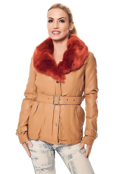 Piel sintética chaqueta de invierno chaqueta con cuello de piel Mostaza: Amazon.es: Ropa y accesorios