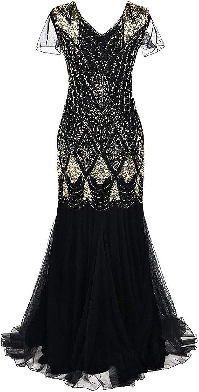 OverDose Damen Damen Abendkleid 13er Jahre Kleid Pailletten Gatsby Maxi  Langes Ballkleid