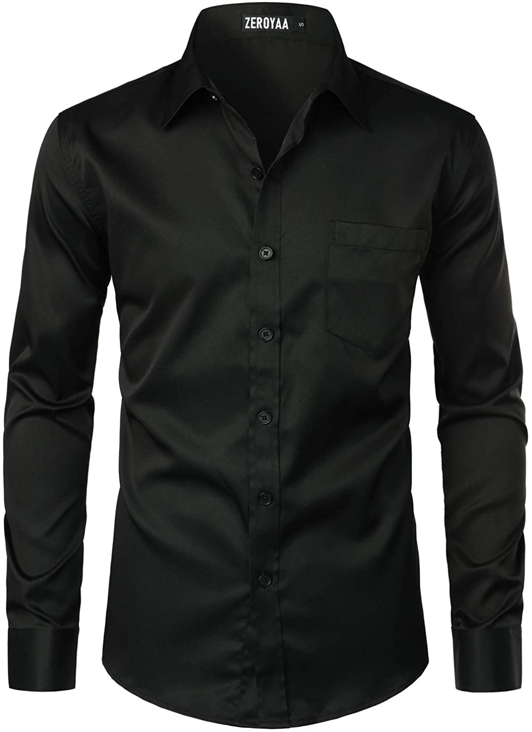 ZEROYAA Men's Urban Stylish Casual Business Slim Fit Long Sleeve Button Up Dress Shirt with Pocket