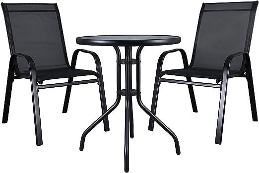 LXDUR Ensemble de Meubles de Jardin en Verre Bistro avec Table et chaises à  Dossier Haut Noir