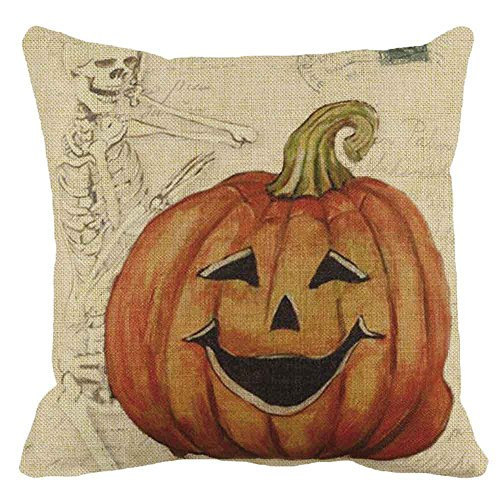 Napoo Happy Halloween Pillow Cases, 2018 Spider Moon Bat Pumpkin Square Throw Linen Pillow Case Cushion Cover Burlap Home Sofa Decor (A) -