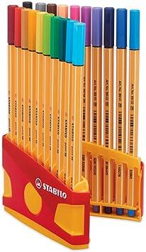 Stabilo Marcadores Point 88 Estuche de 20 Unidades Punta Fina 0.4 mm Colorparade: Amazon.es: Juguetes y juegos