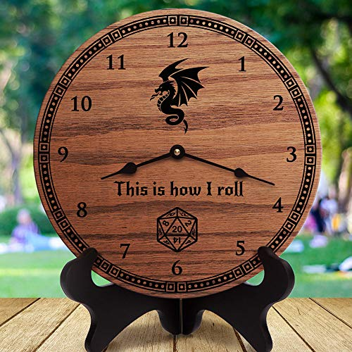 Vi457ad This is How I Roll Funny Dungeons and Dragons Gifts Wyvern D&D DND d20 Clock Only 12