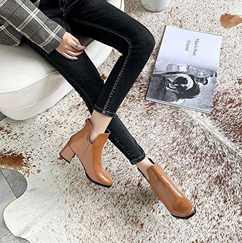 Amarillo Mujeres Cremallera Cómodo Tacón Botas Boots 2018 Chelsea Tobillo Invierno Otoño Tamaño 32 46 Alto GLTER Back RnTqpFwT