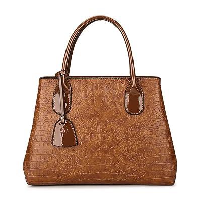87c8abcda42e Amazon   JVPS75-K レディース PUレザー ブラウン おしゃれな 新しいスタイル 女性のバッグ ワインレッド Ms. A4 大容量 通勤  3wayハンドバッグトートバッグ ...