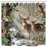 TANSTAN Deer Decor,Waterproof Fabric Elk Foggy Forest Shower Curtain, Hooks Included, 71X71 inch