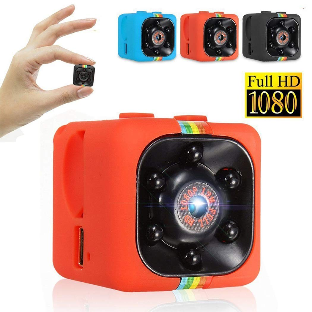 Qulista Mini Camera Cube Spy HD 1080P 360 Degree Portable Night Vision IR Invisible Camera Wide Field Video Recording Support TF Card