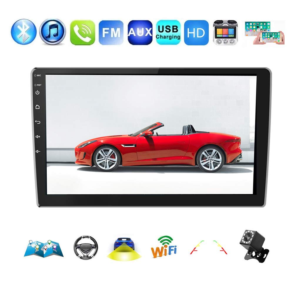 Car Radio Double Din Car Stereo 9 HD 2.5D Touch Screen Car Radio Bluetooth Android 8.1 1G+16G Indash Car Radio Head Unit Support WiFi//Mirror Link//Backup Camera//GPS Navigation//DVR//FM//USB
