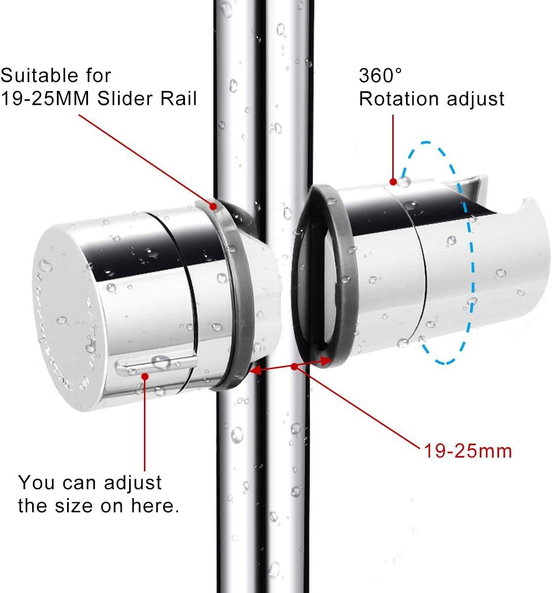 plastica ABS HAUSPROFI Supporto per doccetta universale Supporto per doccia regolabile 18-25 mm Supporto per doccia per doccetta o soffione Per bagno girevole a 360 /° cromato
