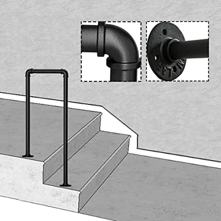 KDJJH de Hierro Negro Mate Barandas Escalera, con el Kit de instalación Pasamanos Barandilla en Forma de U Pasamanos Escalera Corredor para NiñOs Mayores,35cm(1.1ft): Amazon.es: Hogar