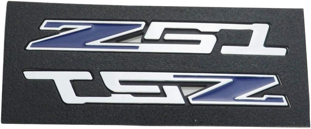 Pair Z51 Emblem Badge Sticker Replacement for Set C7 Z06 C5 C6 Corvette Nameplate Chrome Blue