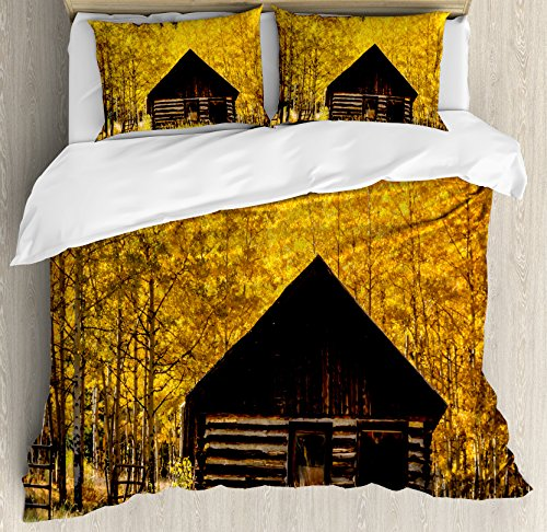 Ambesonne Autumn Duvet Cover Set King Size, Abandoned Wooden Farmhouse in Fall with Aspen Trees Rural Pastoral Nature Scene, Decorative 3 Piece Bedding Set with 2 Pillow Shams, Brown ()