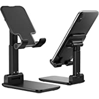Cell Phone Stand, Foldable Portable Desktop Stand Adjustable Height and Angle Phone Holder for Desk Sturdy Aluminum…