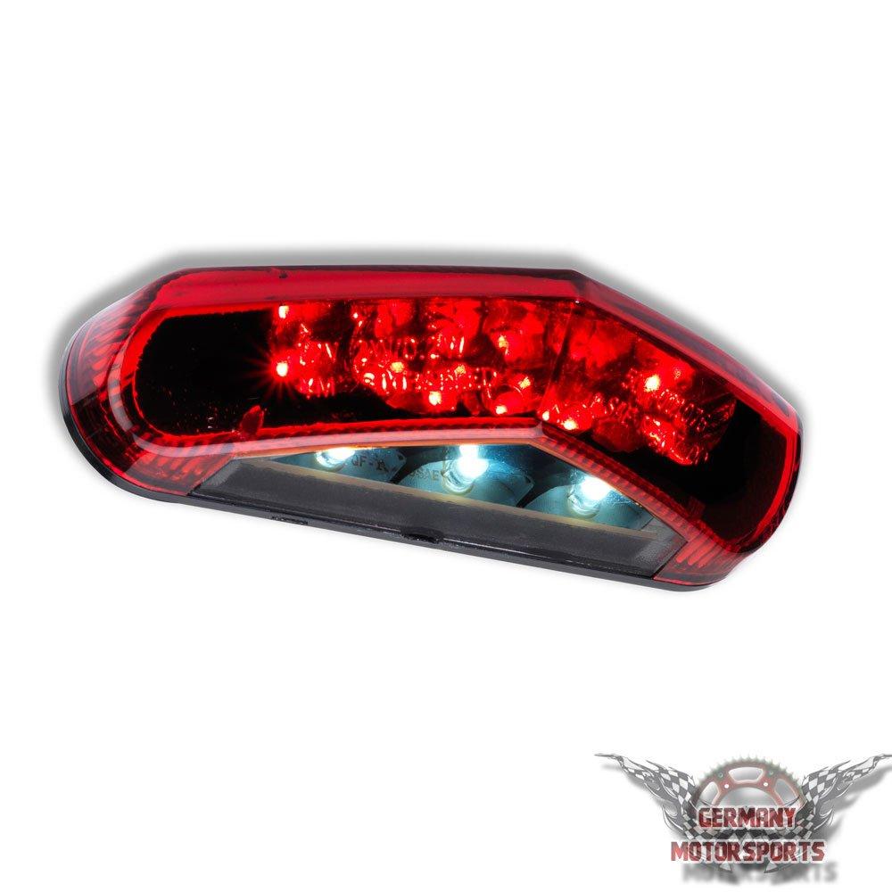 LED Universal Motorrad R/ücklicht Schwarz Rotes Glas Roller Quad ATV R/ückleuchte Bremsleuchte
