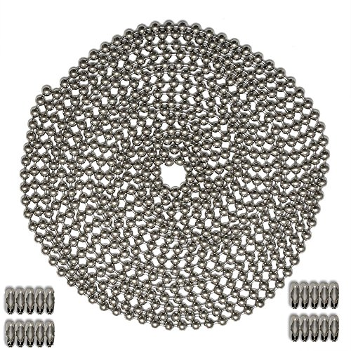 - Okones 26 Foot Length,12mm Bead Diameter,Ball Chain,304 Stainless Steel,with 20pcs Matching 'B' Couplings (12mm Diameter, Ball Chain)