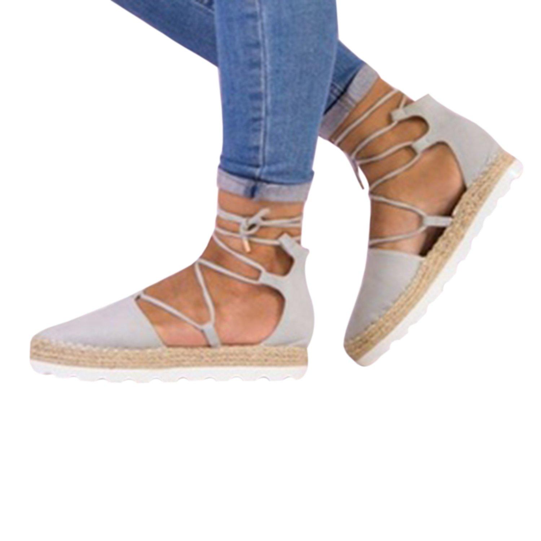 Gemijacka Damen Knouml;chel Schnalle Riemen Espadrilles Ausgeschnitten Binden Niet Klassischen Sommer Flache Sandale Schuhe  41|5-Grau