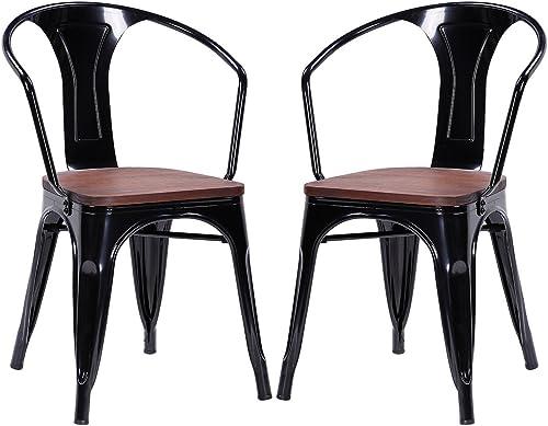 COSTWAY Metal Dining Chair Tolix Style Indoor Outdoor Use Armchair Stackable Bistro Cafe Chair Stackable Armchair