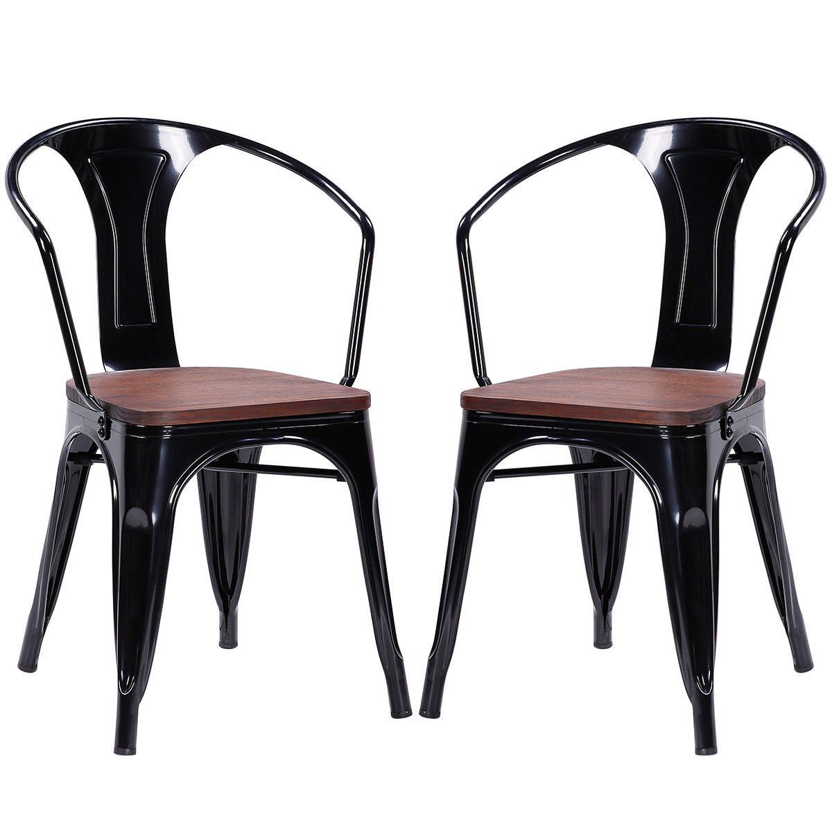 COSTWAY Metal Dining Chair Tolix Style Indoor Outdoor Use Armchair Stackable Bistro Cafe Chair Stackable Armchair, Set of 2