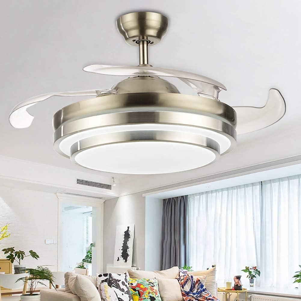 Ventilador De Techo Invisible De 47 Pulgadas,3-color Luz Ajustable Luces De Ventilador De Techo Con Mando A Distancia Dormitorio Moderno Led Lámpara Colgante-a Diameter:120cm(47inch)