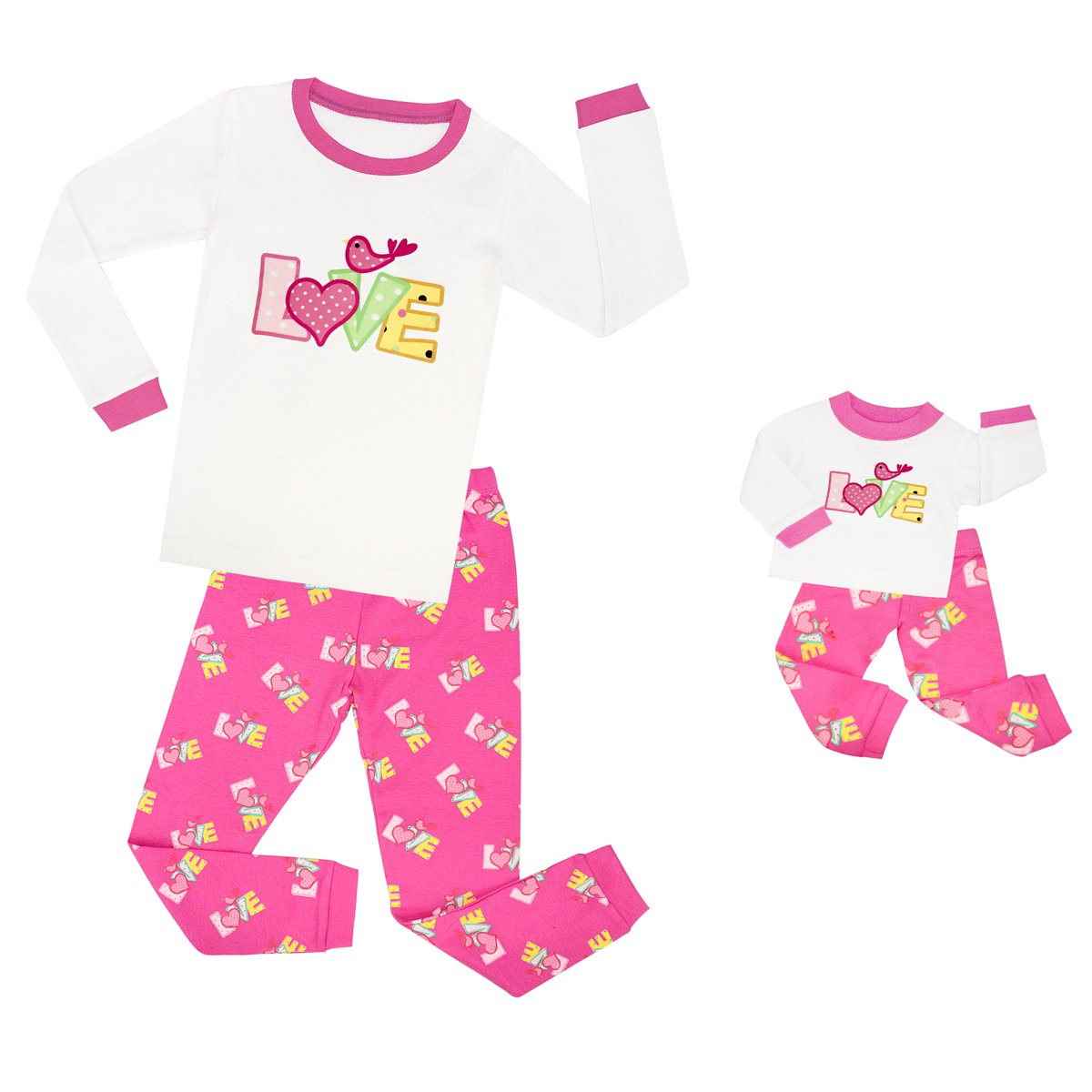 Tinaluling ''love'' Matching Little Girl & Doll 2 Piece Pajama 100% Cotton Pajamas Girls Pyjamas PJS for 2-8 years with doll sleepwear (8 years)