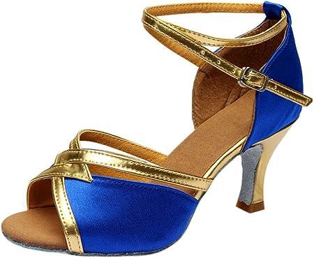 Zapatos de Latino Baile Tacón Bajo para Mujer Invierno Primavera PAOLIAN Zapatos Danza Española Moderna Fiesta Elegantes Boda Sandalias de Vestir Lentejuelas Plateados Dorados Tallas Grandes