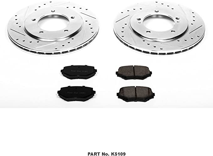 Front R1 Concepts KEDS11627 Eline Series Cross-Drilled Slotted Rotors And Ceramic Pads Kit