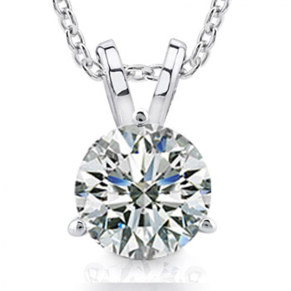 0.44 Ct Ladies Round Cut Diamond Soitaire Pendant / Necklace