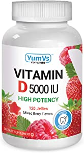 YumVs Complete Vitamin D3 Jellies (Gummies) 5000 IU of Vitamin D, Mixed Berry Flavor (120 Ct); Daily Dietary Supplement for Men and Women, Chewable, Vegetarian, Kosher, Halal, Gluten Free