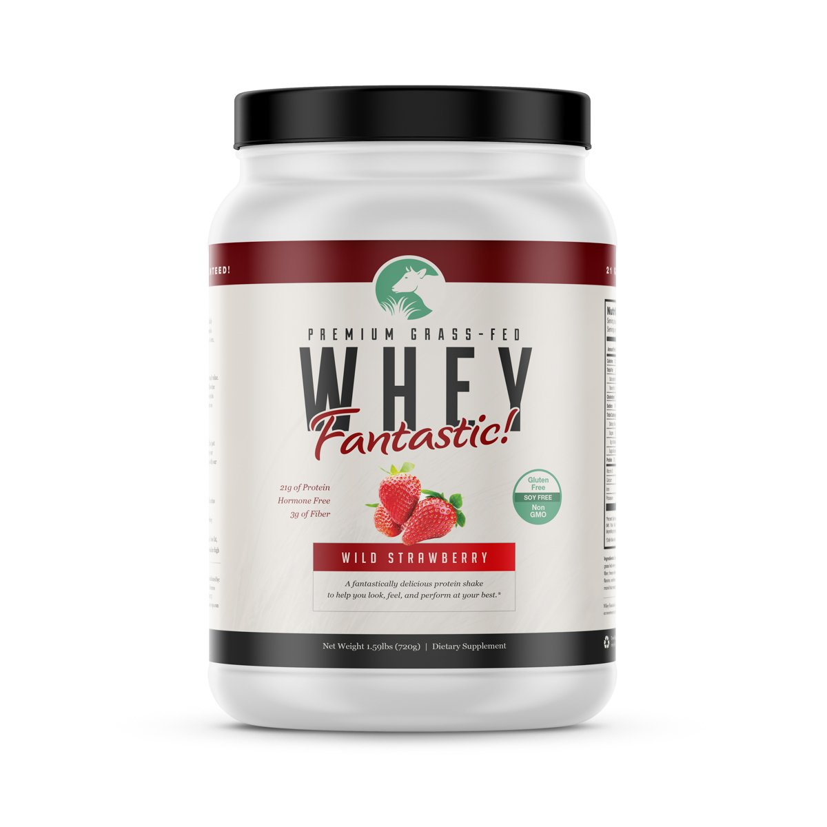 Grass Fed Strawberry Whey Fantastic – All Natural Whey Protein Blend from Isolate Concentrate Perfect for Building Lean Muscle – Non-denatured, Non-GMO, Gluten Soy Free – 1.6lb – 20 Servings