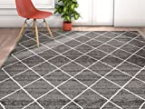 Non-Skid / Slip Rubber Back Antibacterial 8x11 (7'10''x9'10'') Diamond Lattice Print Grey Thin Low Pile Machine Washable Indoor Outdoor Area Rug