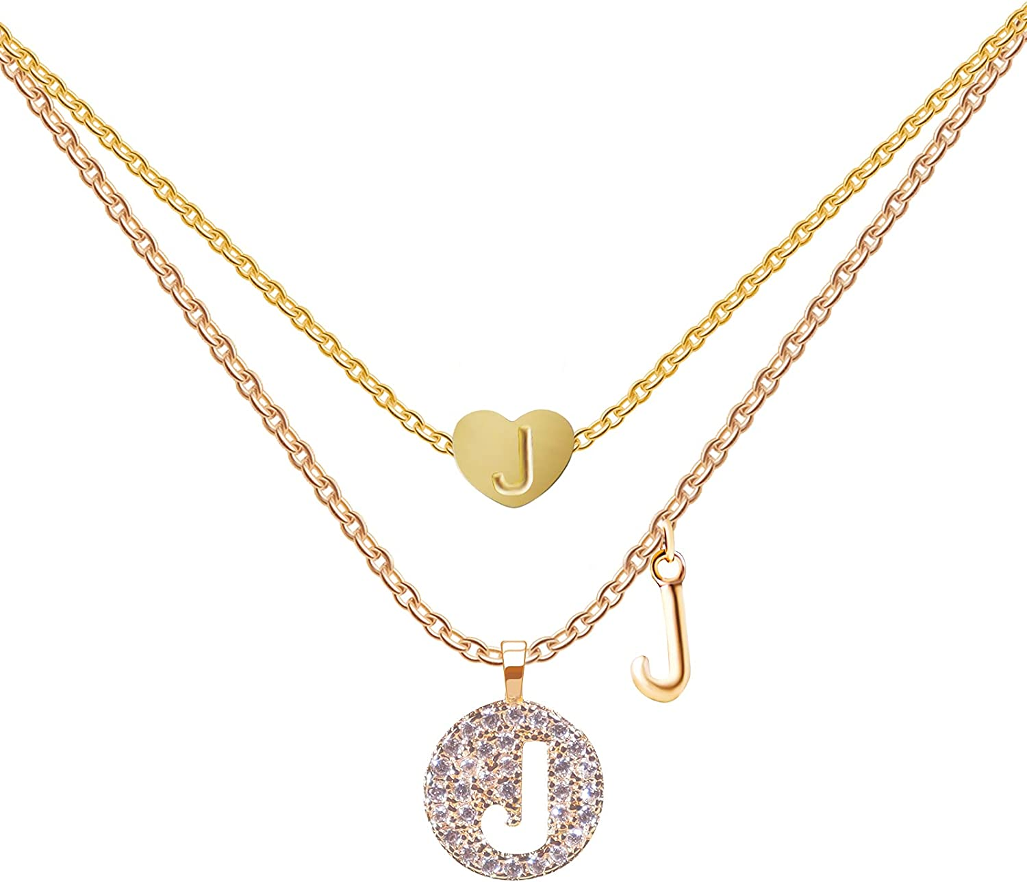 Tiny Gold Initial Heart Necklaces For Girls(2 Styles/Set) ,14k Gold/ Rose Gold Filled Heart Pendant Handmade Dainty Heart/Hollow Of The Initial Letter Necklaces For Teen Girls Kids Jewelry Gifts (Set-J): Clothing