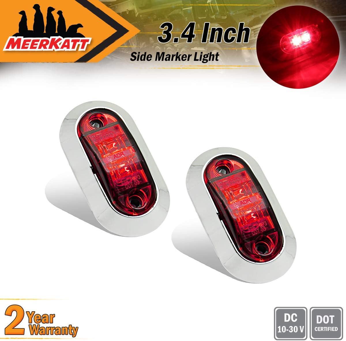 Meerkatt Pack of 4 4 Inch Oblong Red Rectangle Clearance Lamp Sealed Indicator Bulb Multi-Function LED Side Marker Lights 6 Diodes Shockproof Trailer Lorry Truck Van Cars Bus Cabin 12v DC TT12