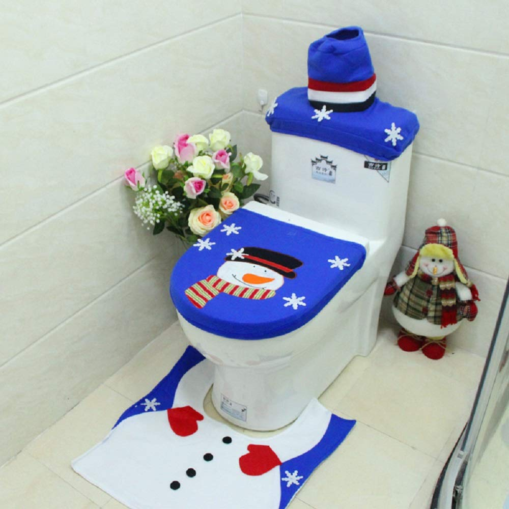 Evinis Snowman Santa Toilet Seat Cover and Rug Set Blue Christmas Decorations for Home Bathroom Decor (Style 3)